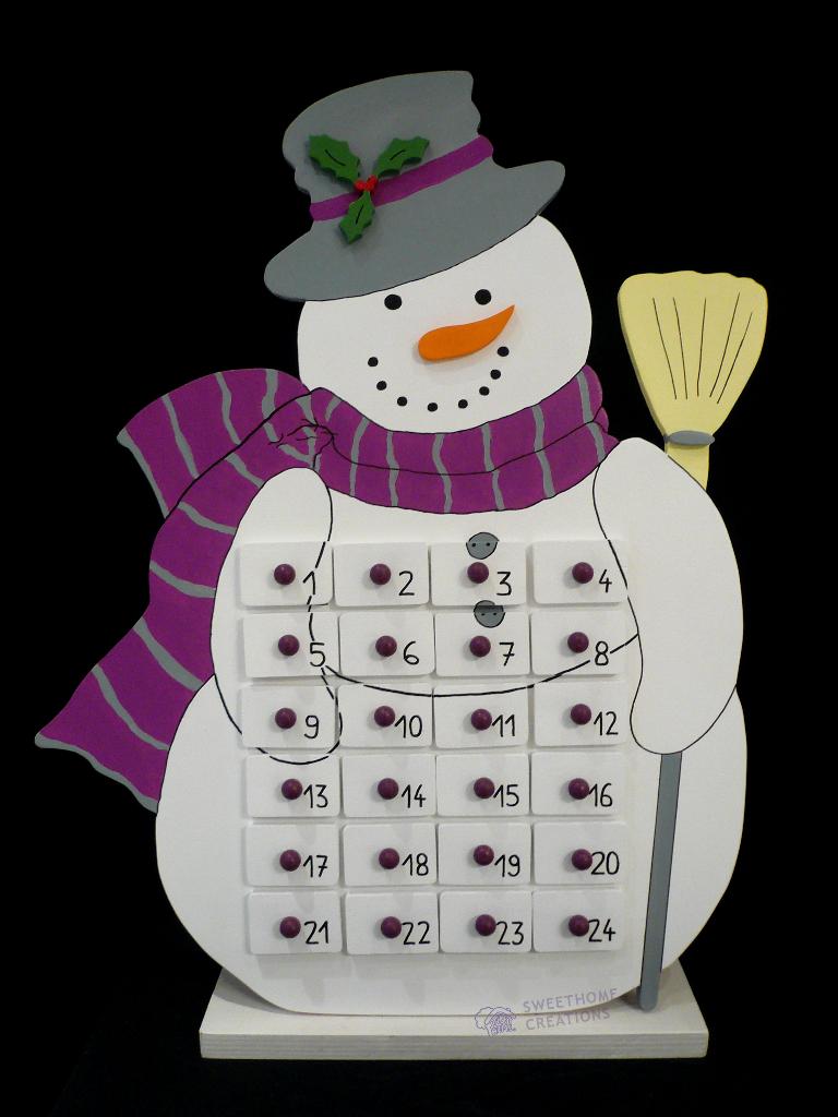 Calendrier de l 39 avent bonhomme de neige - Calendrier de l avent en bonhomme de neige ...