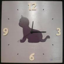 Horloge Chaton violine fond parme chiffres crème