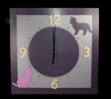 Horloge chats violine cadran violine chiffres crème