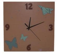 Horloge mirage et papillons, fond taupe motifs bleu orage