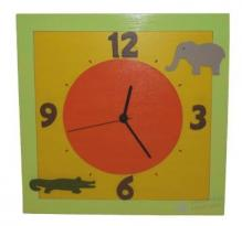Horloge Safari cadran orange chiffres marron