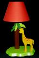 Lampe Giraffe gelb, mit orangem Schirm