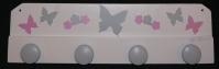 Patère fille papillons fleurs blanc gris rose