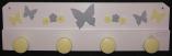 Kleiderhaken Schmetterlinge weiss grau gelb