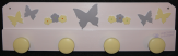 Patère papillons blanc gris jaune