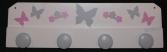 Patère papillons fleurs blanc gris rose