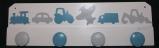 Patère véhicules fond blanc gris et bleu grisé