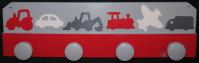 Kleiderhaken Fahrzeuge grau rot weiss