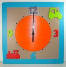 Horloge Véhicules multicolore, cadran orange